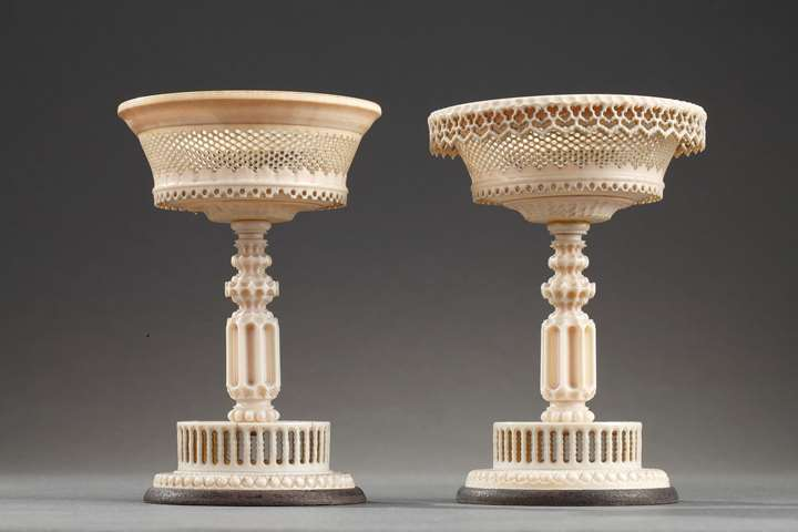 Early 19th century TURNED and carved IVORY CUPs