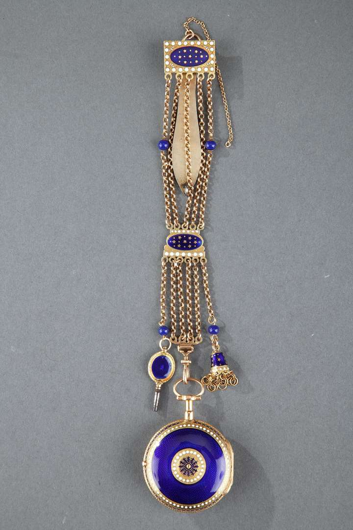 Enameled Gold Chatelaine with Watch by C-T Guenoux