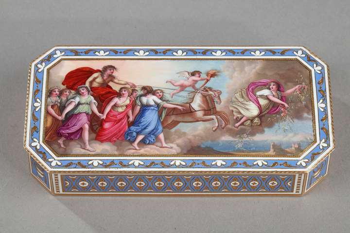 Swiss enamelled gold snuff-box by guidon, rémond & gide