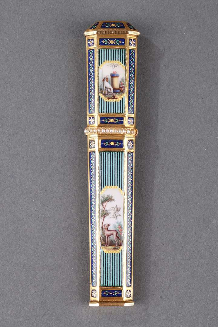Gold, enamel, and pearl needle case