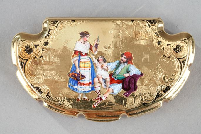 Mid-19th Century gold and enamel box.  Dedication of  Anna Pavlovna, Grand-Duchess of Russia. | MasterArt