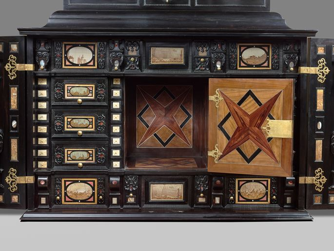 A rare 17th Century south German (Augsburg) ebony table - cabinet | MasterArt