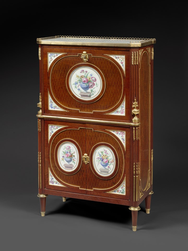 A FINE FRENCH ORMOLU AND PORCELAIN-MOUNTED MAHOGANY SECRETAIRE A ABATTANT Louis XVI