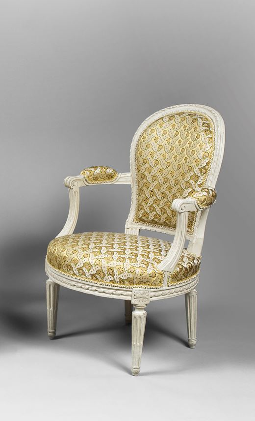 A PAIR OF LOUIS XVI GREY PAINTED FAUTEUILS EN CABRIOLETS | MasterArt