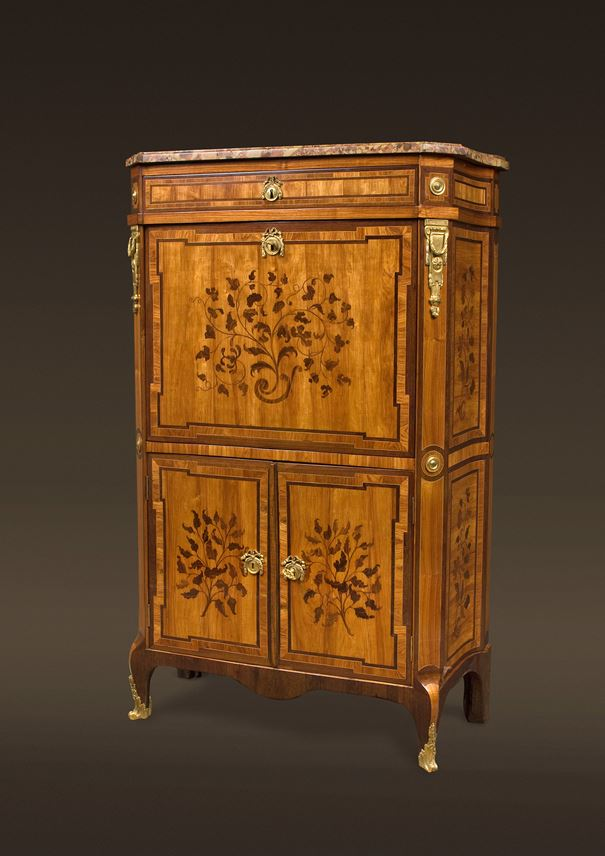 A TRANSITION END-CUT MARQUETRY DROP-FRONT SECRETAIRE | MasterArt