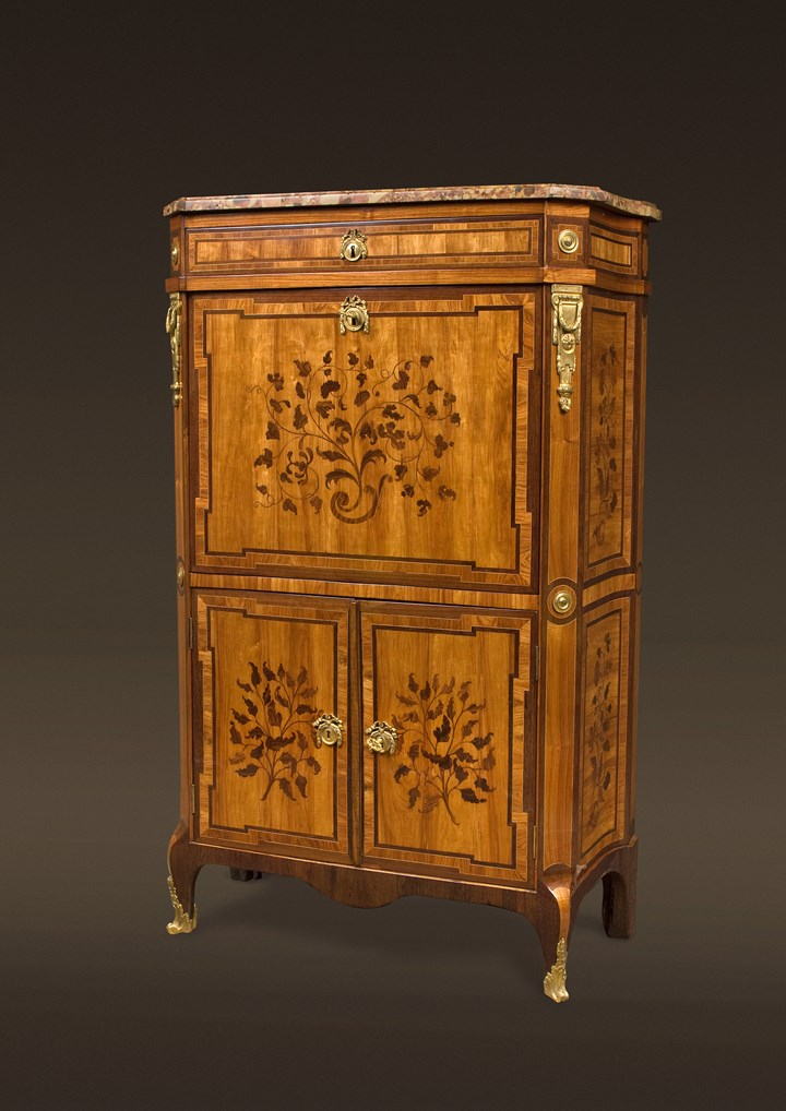 A TRANSITION END-CUT MARQUETRY DROP-FRONT SECRETAIRE