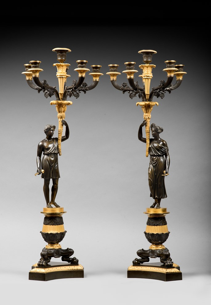 A pair of Empire ormolu and patinated bronze six-light candelabra | MasterArt