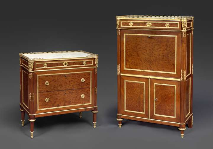 A rare Louis XVI Mahogany Commode and secrétaire set