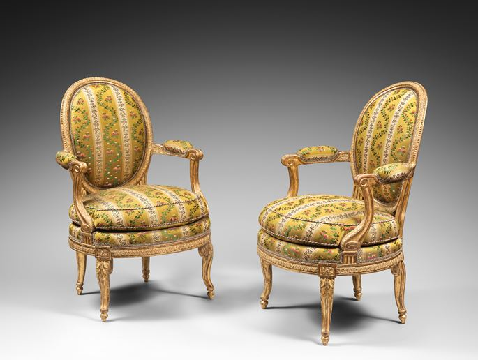 Georges  Jacob - A rare pair of Louis XVI gilt wood armchairs | MasterArt
