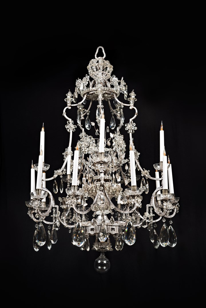 An Impressive fifteen light cut-glass chandelier