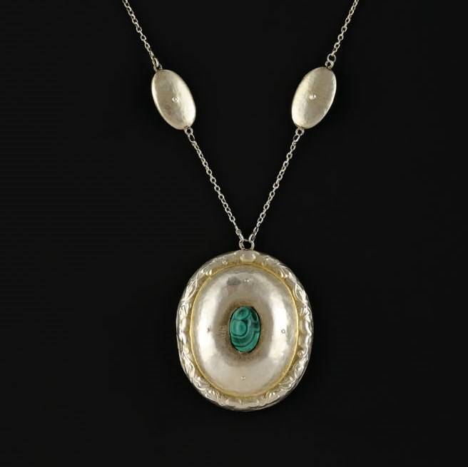 Medallion with Malachite and Original Chain