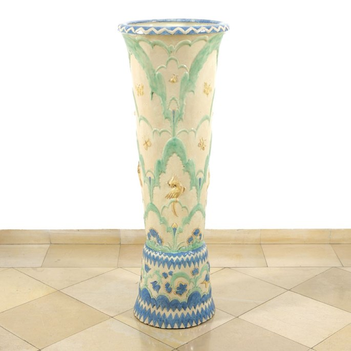 Otto Prutscher - Rare Floor Vase with Flowers, Butterflies and Birds | MasterArt