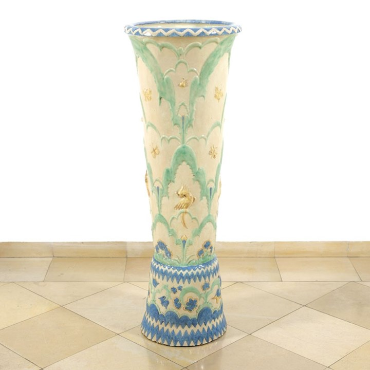Rare Floor Vase with Flowers, Butterflies and Birds