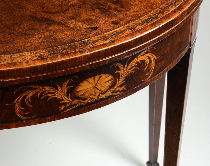 A fine pair of George III period mahogany demi-lune card tables of excellent colour and patina | MasterArt