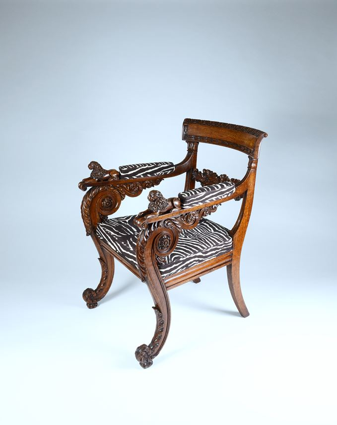 An outstanding pair of Regency period carved oak armchairs | MasterArt