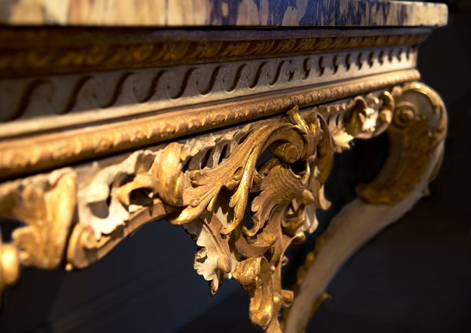 A Fine George II Period White Painted and Gilt Console Table with Breccia Marble Top   | MasterArt