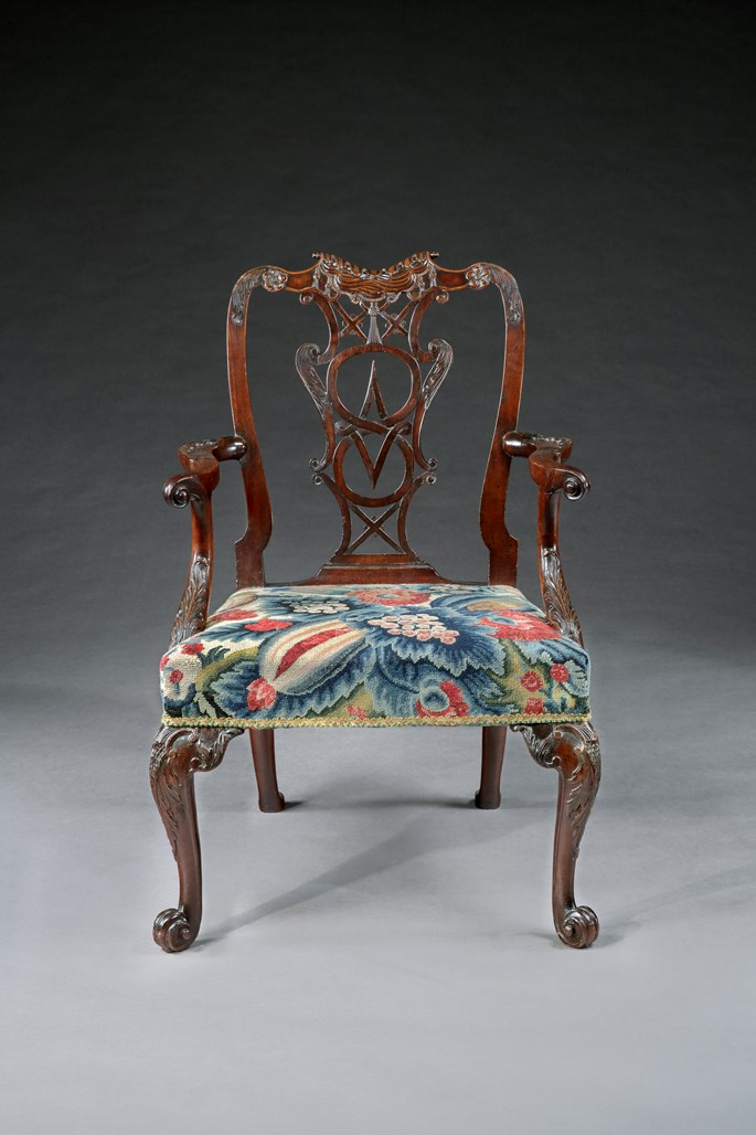 A Fine Pair of George III Carved Mahogany Armchairs of Exceptional Colour and Patination | MasterArt