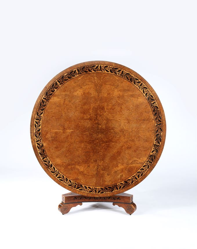 A Fine Regency Period Burr Oak, Oak and Ebony Inlay Circular Table on Triform base | MasterArt