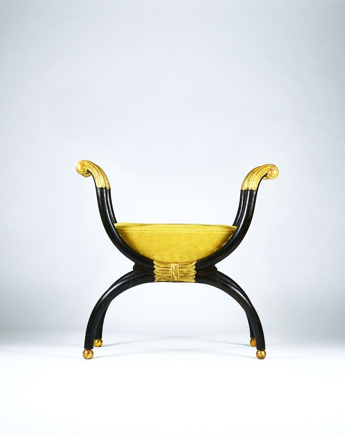 George Smith - A Fine Regency Period Simulated Rosewood and Gilt X-Frame Stool to a Design by George Smith | MasterArt