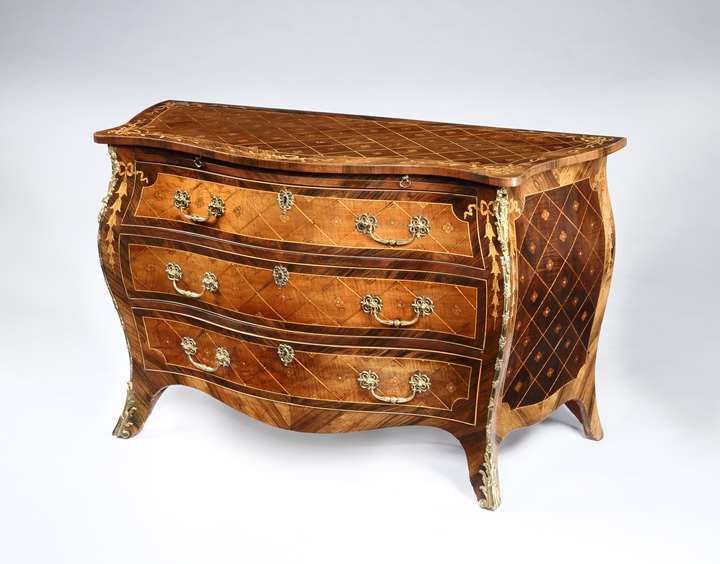 A Magnificent George III Period Marquetry Bombe Commode