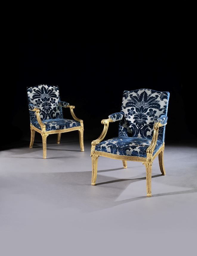 John Linnell - A Pair of George III Giltwood Armchairs Attributed to John Linnell | MasterArt