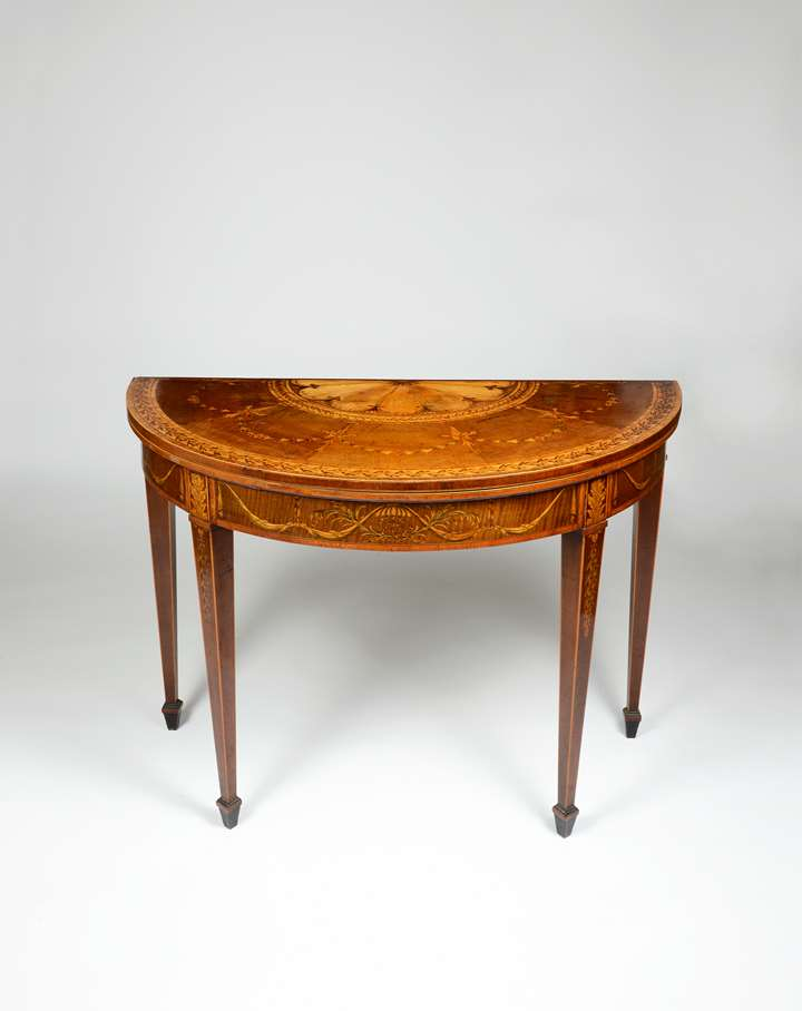 A Particularly Rare George III Period Fiddleback and Marquetry card table