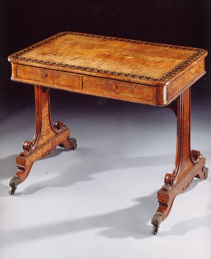 A Regency period ebony-inlaid pollard oak writing table of wonderful untouched colour and patination  | MasterArt