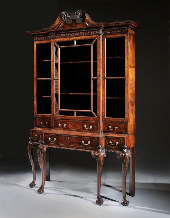A rare George II Period walnut and burr walnut veneered breakfront cabinet on stand in the manner of Giles Grendey | MasterArt