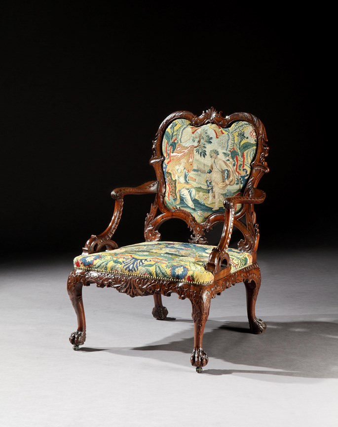 Thomas Chippendale - A rare George II period carved mahogany armchair | MasterArt