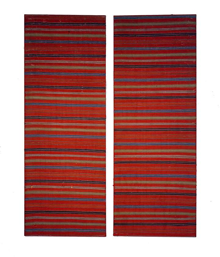 A rare pair of striped mounted textiles,very finely worked and of very good colour