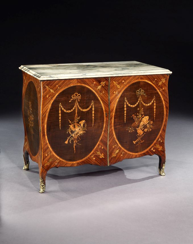 An Exceptional Pair of George III Marquetry Bombe Commodes Attributed to Mayhew and Ince | MasterArt