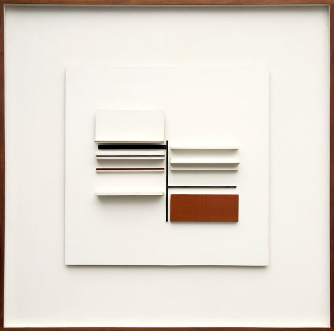 Victor Pasmore  - Abstract in White, Black, Maroon and Ochre | MasterArt