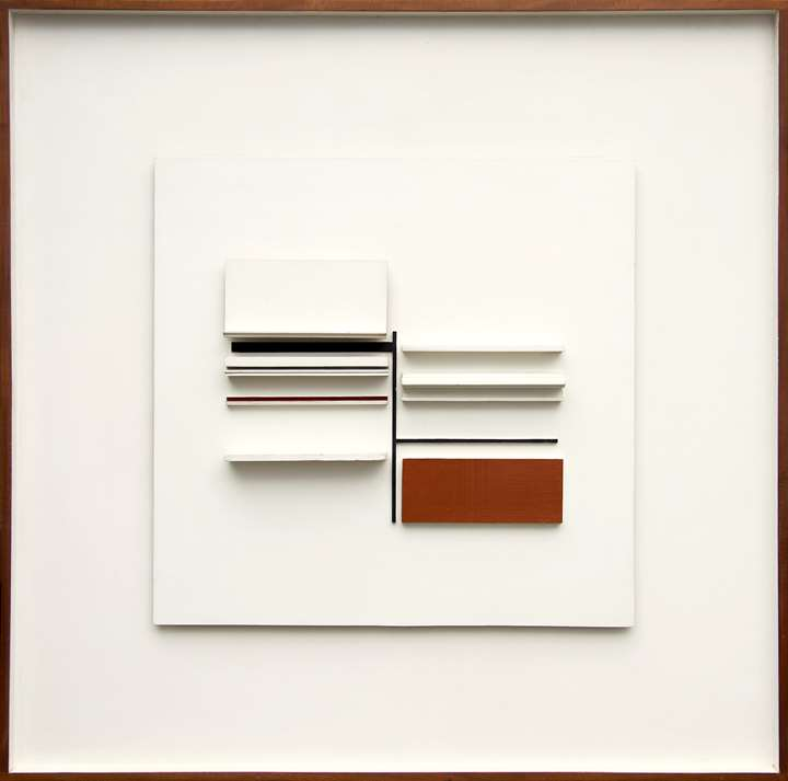 Abstract in White, Black, Maroon and Ochre