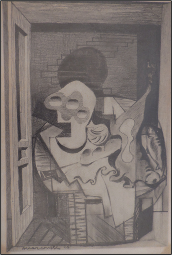 "Louis MARCOUSSIS - Preparatory drawing for the painting ""Anvers"" 
