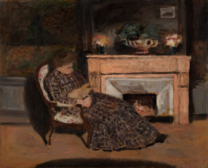 Albert André - Malek, épouse du peintre dans son fauteuil avec son chat | MasterArt
