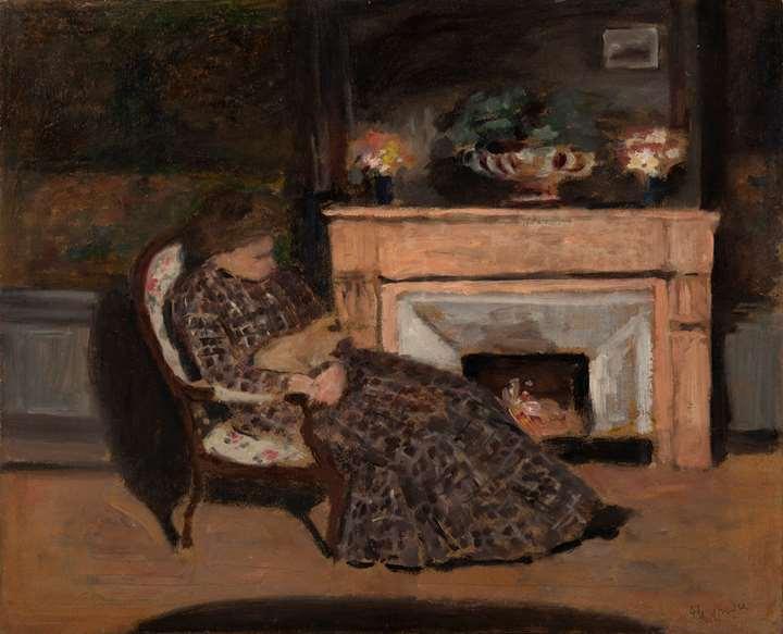 Malek, épouse du peintre dans son fauteuil avec son chat