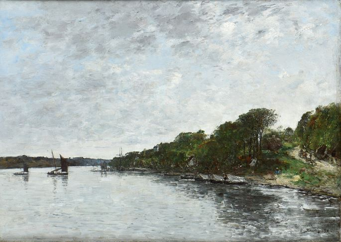 Eugène  BOUDIN - Rivière en Bretagne | MasterArt