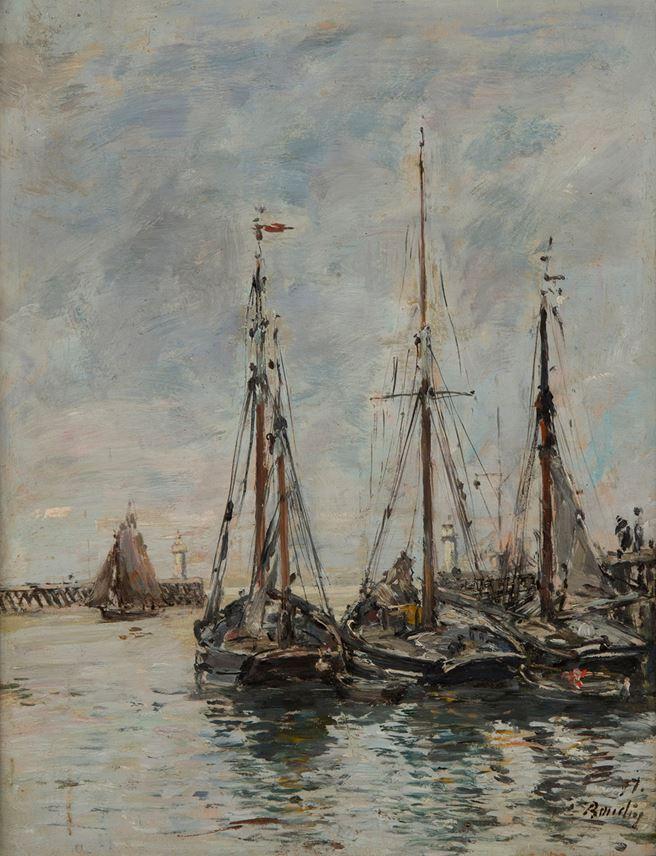 Eugène  BOUDIN - Trouville. Les jetées. Marée haute | MasterArt