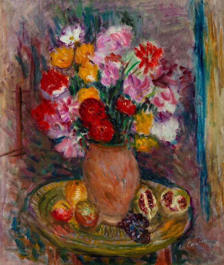 Nature morte au vase de fleurs et fruits