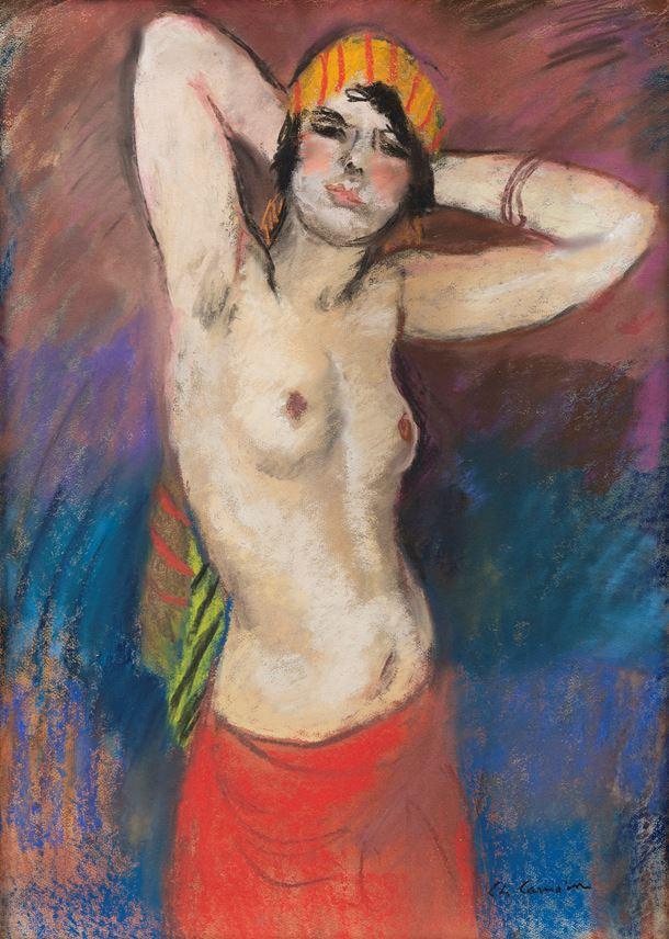 Charles Camoin - Buste de femme nue au turban jaune rayé rouge | MasterArt