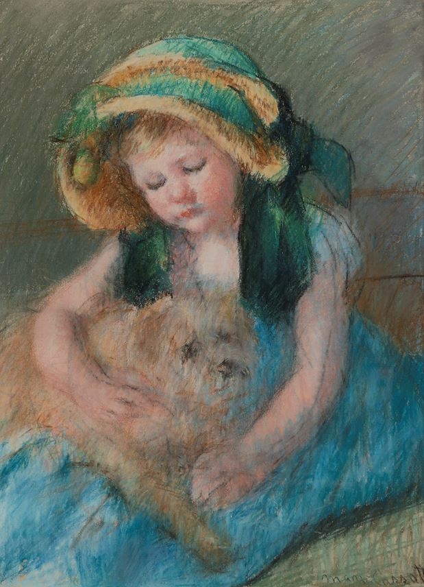 Mary Cassatt - Sara au bonnet avec son chien | MasterArt