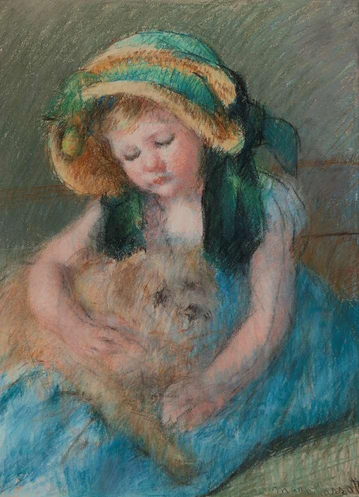 Sara au bonnet avec son chien