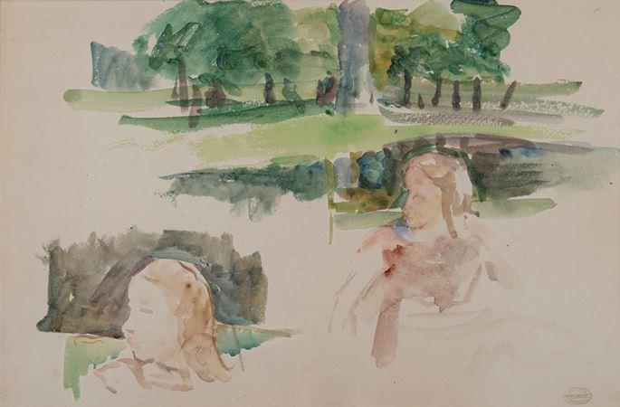 Mary Cassatt - Étude de paysage à la rivière et d'enfants | MasterArt