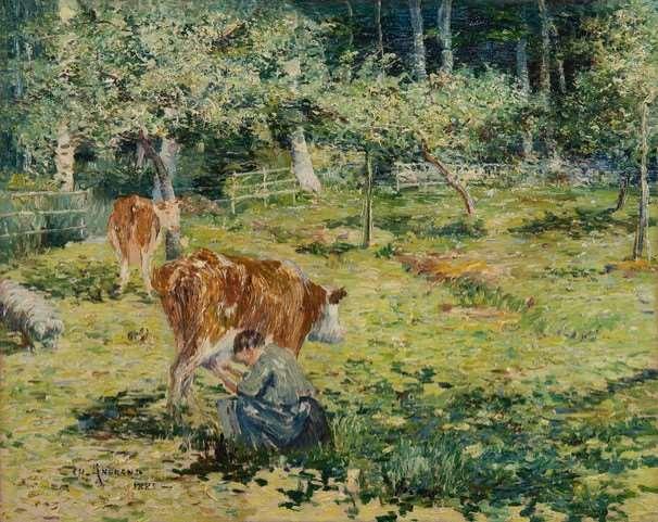 Paysanne trayant une vache