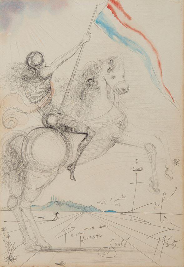 Salvador Dali - Cavalier avec bannière française | MasterArt
