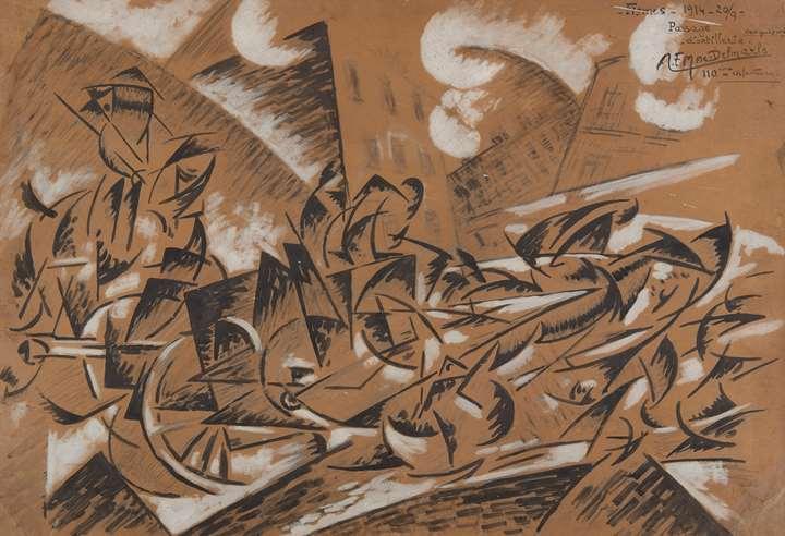 Passage d'artillerie, Fismes, 20 septembre 1914