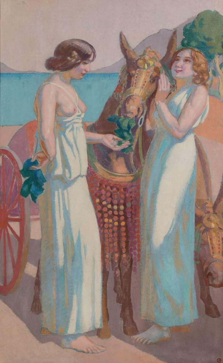 Jeux de Nausicaa : deux femmes près d'une mule harnachée