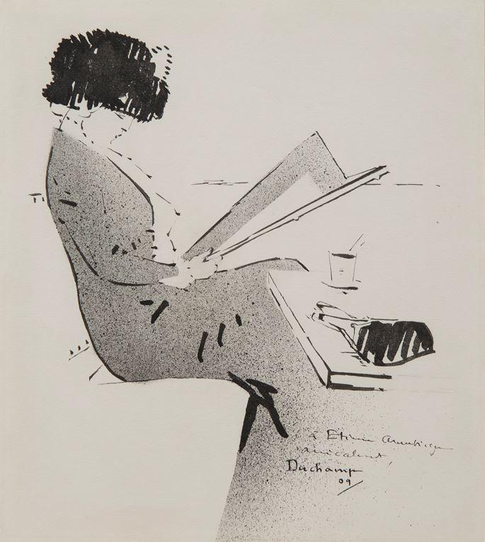Marcel Duchamp - Jeune femme au café parisien | MasterArt