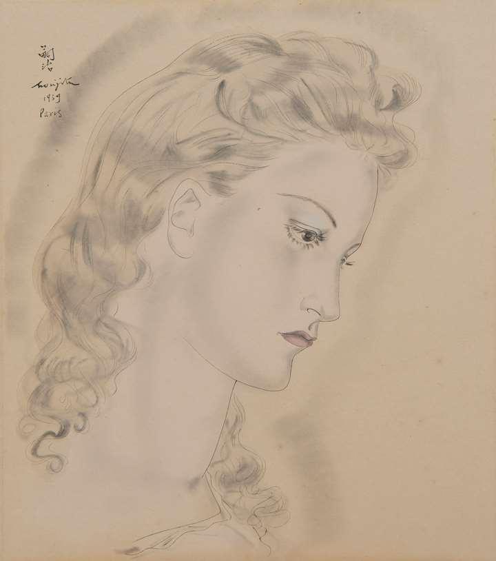 Portrait de jeune femme blonde, probablement Jacqueline Goddard