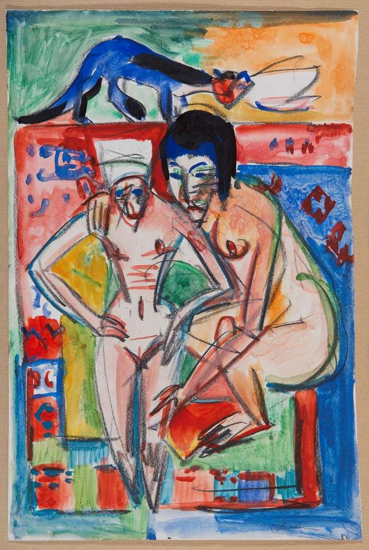 Femme nue et fille (problablement Anna Müller)
